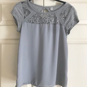 Grey lace detail top